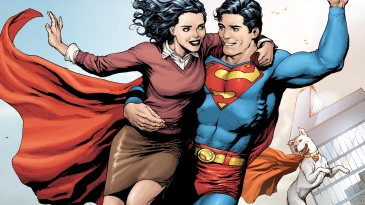 Lois Lane being saved by Superman